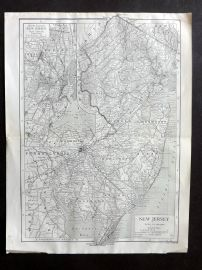 Encyclopaedia Britannica 1911 Antique Map. New Jersey, USA